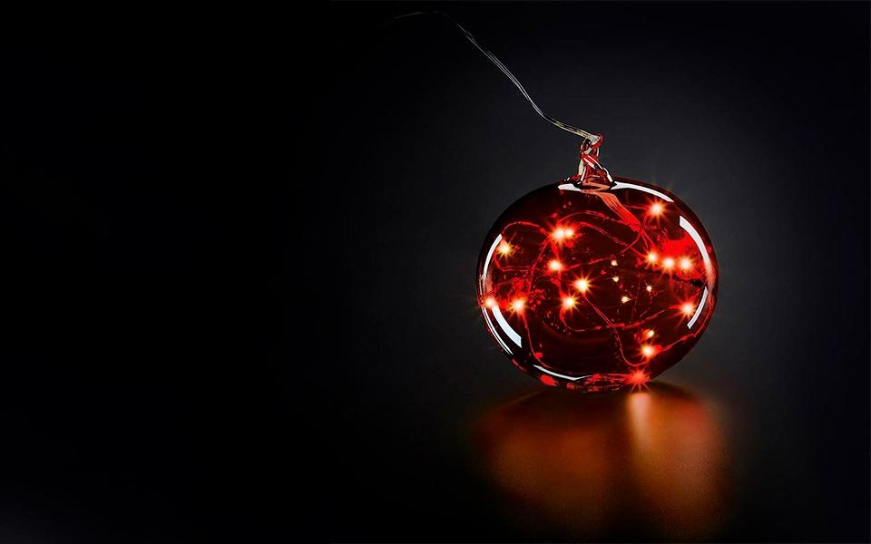 Шар на елку с подсветкой Krinner Lumix Красный