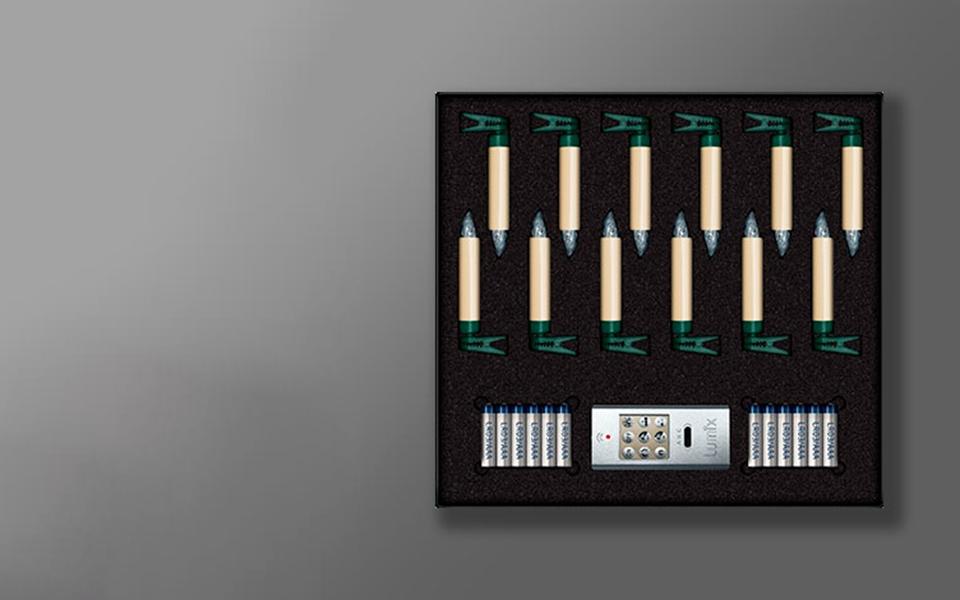 Свечи Kriner Lumix Superlight, золотые, 12 шт с пультом