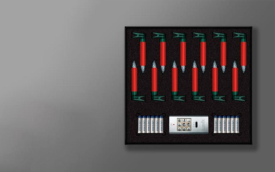 Свечи Kriner Lumix Superlight, красные, 12 шт с пультом
