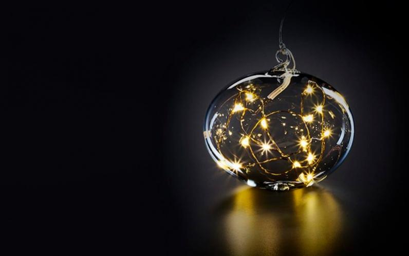 Шар на елку с подсветкой Krinner Lumix Золотой