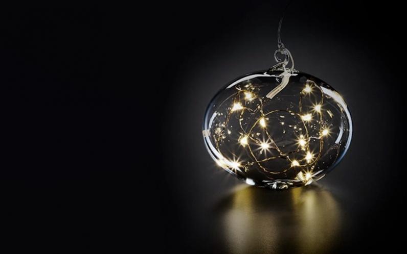 Шар на елку с подсветкой Krinner Lumix Белый